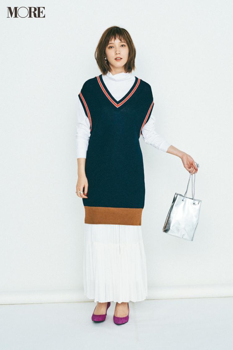 【今日のコーデ】ハイネック+ロングスカート。白メインのコーデで新鮮さを狙う! 〈本田翼〉_1