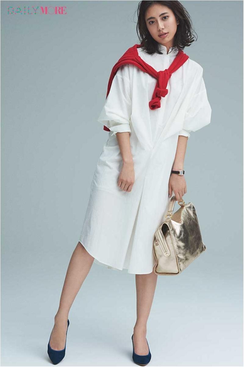 【今日のコーデ/土屋巴瑞季】ONにもOFFにも使える白のシャツワンピ。今日は、きれいな色や小物で味つけて仕事モードに!_1