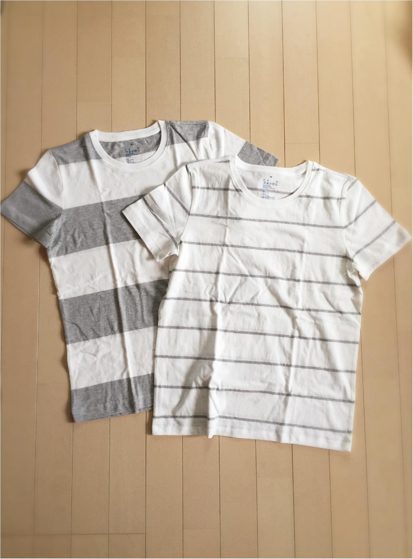 LUMINEのセールで無印良品に寄ると、 オーガニックコットンのTシャツが2枚買うと更に割引にっっ!!!こういう時でないと安く買えないので、グレー ボーダーを色違いで2枚 ...