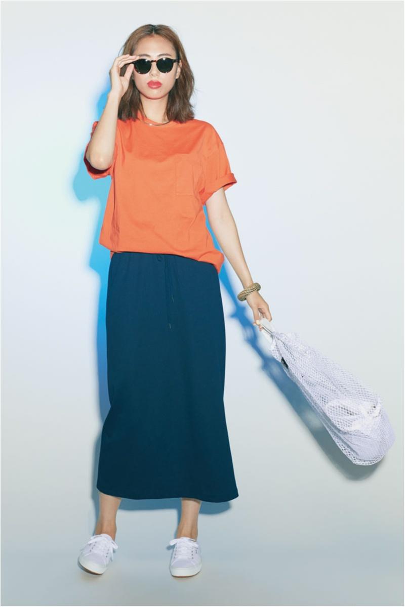 Tシャツ.,スカート,ネイビー,きれい色,土屋巴瑞季
