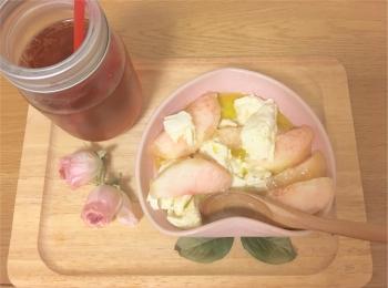 お家でも楽しめるかけこみ桃♡桃とチーズがよく合う!