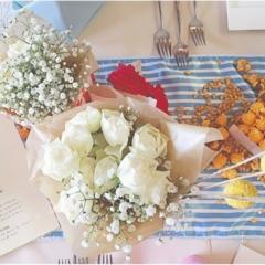 【wedding】花のある暮らし。頂いたお花で簡単可愛い♡自宅でフラワーアレンジメント