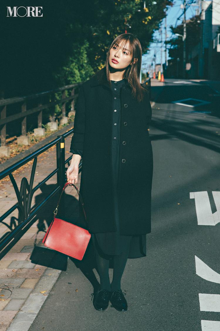 【今日のコーデ】オールブラックの装いにちょっとの赤を添えてワンランク上のONコーデ♡ <内田理央>_1