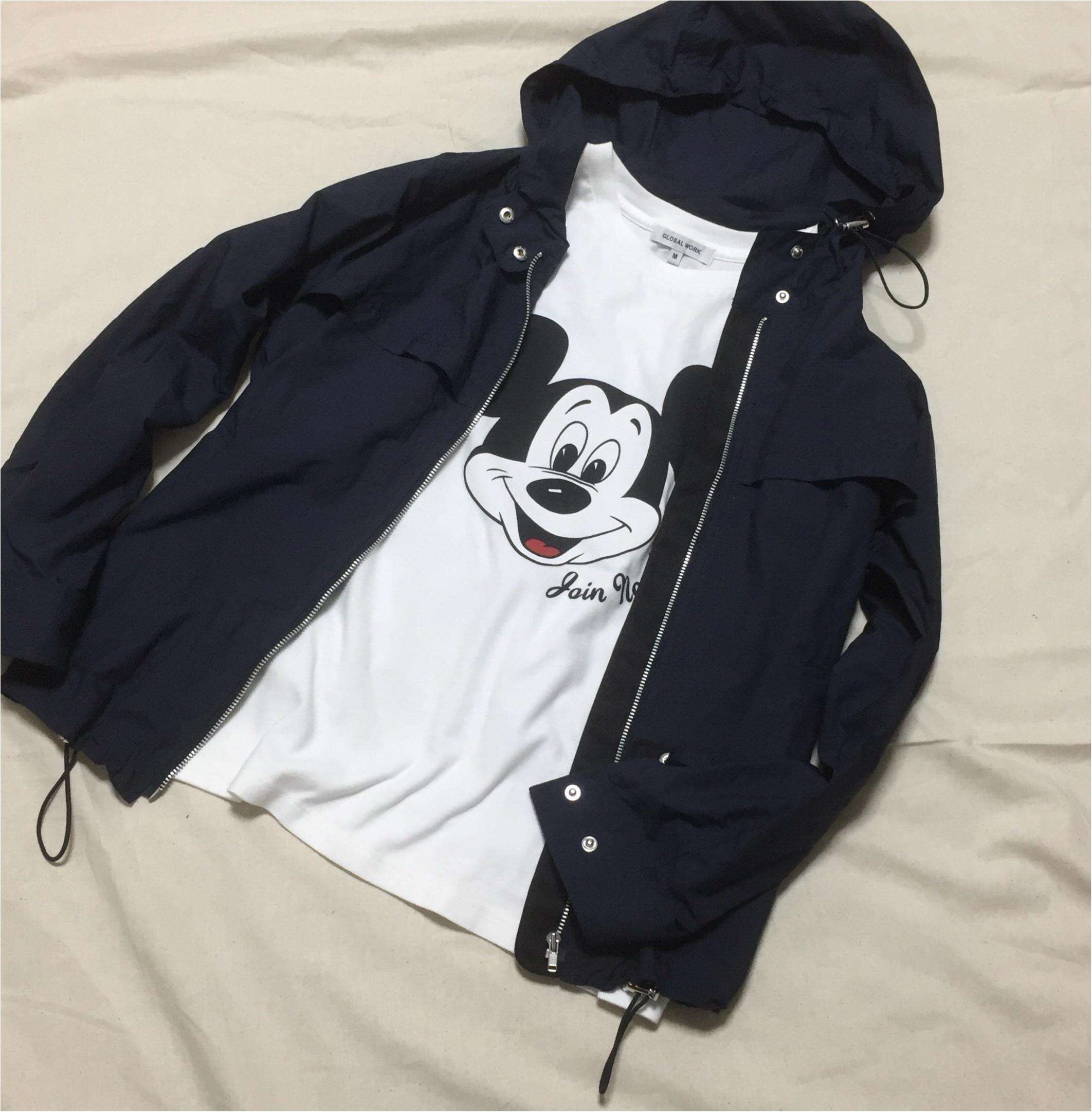 【GLOBAL WORK】念願のミッキーTシャツをGET!スポーツmixコーデ_2