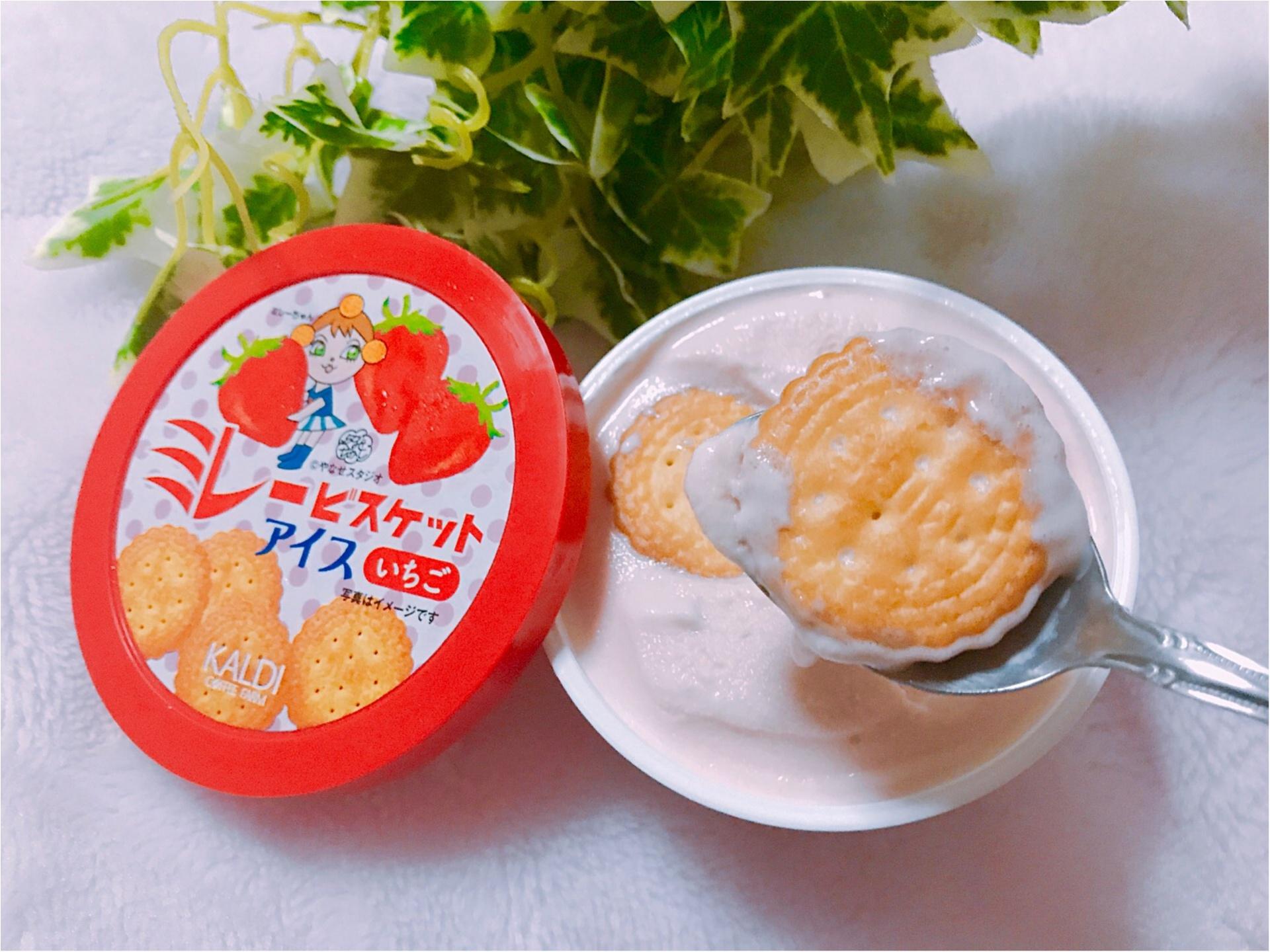 """【KALDI】あのご当地菓子《ミレービスケット》がアイスになっちゃった!カルディ限定で""""いちご味""""が新登場❤︎パッケージがレトロ可愛い♡♡_3"""