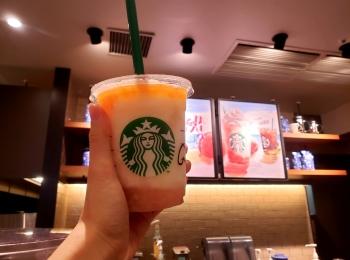 【STARBUCKS】ピーチオンザビーチフラペチーノ☆夕陽イメージも!?カスタマイズ3選☆