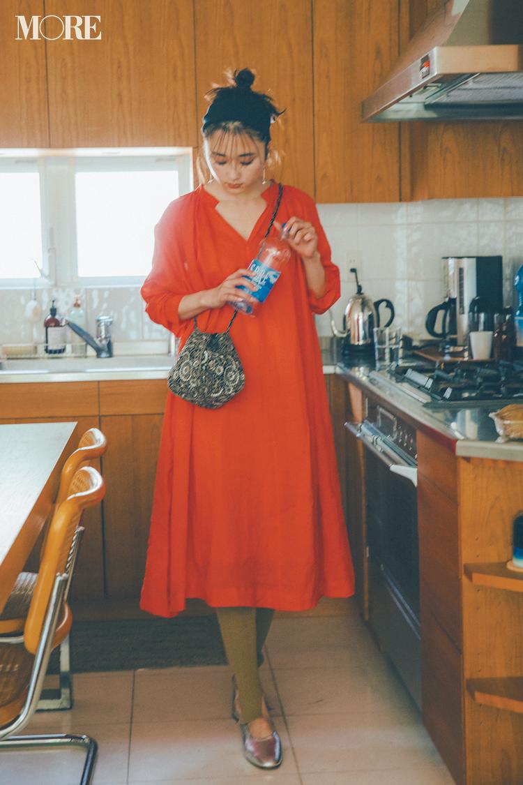 【今日のコーデ】<鈴木友菜>気分が上がるオレンジ色のワンピにはレギンスを重ねるのが今夏のルール♪_1