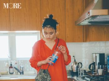 【今日のコーデ】<鈴木友菜>気分が上がるオレンジ色のワンピにはレギンスを重ねるのが今夏のルール♪