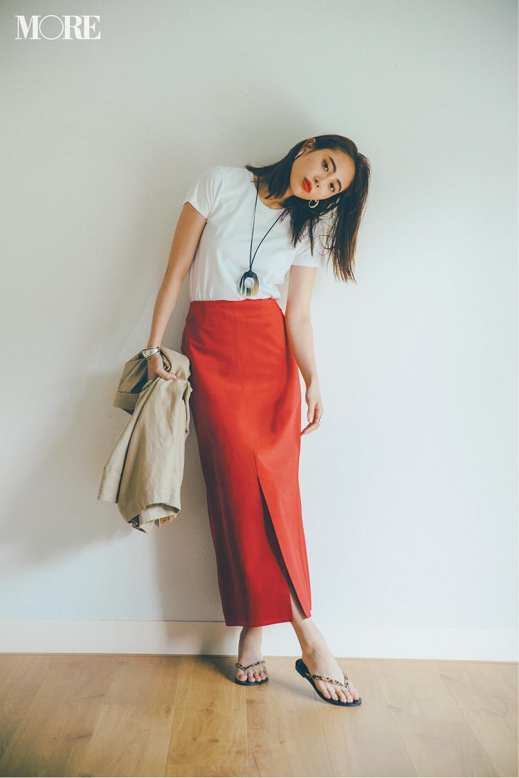 【今日のコーデ】<土屋巴瑞季>仕事の日にも白Tを。タイトスカートとなら女っぽさも洗練感も急上昇!_1