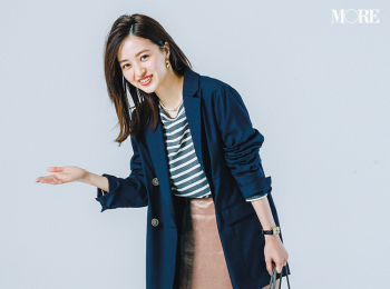 【今日のコーデ】<逢沢りな>会食の日のジャケットコーデをエレガントな光沢スカートで好印象に♡