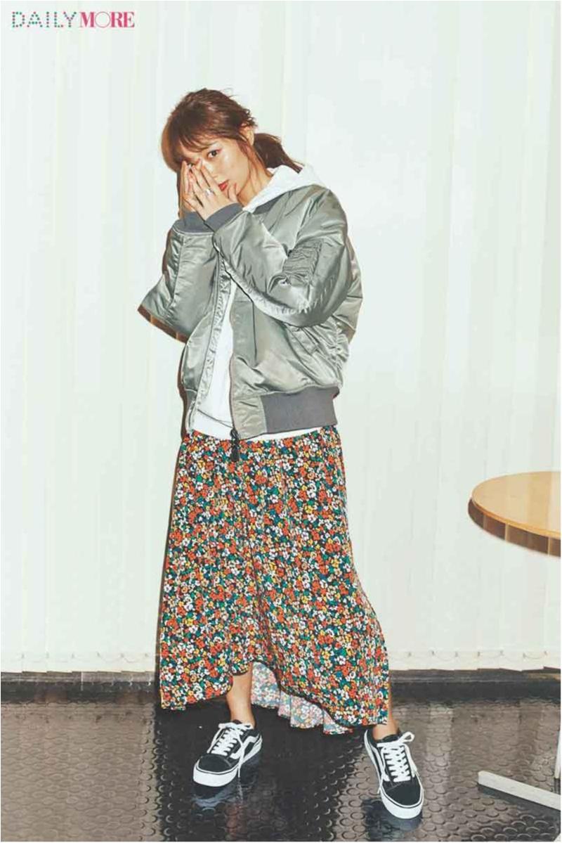 【今日のコーデ/内田理央】スポーティカジュアルに合わせる花柄スカート。今やりたい甘辛バランスはコレ♪_1