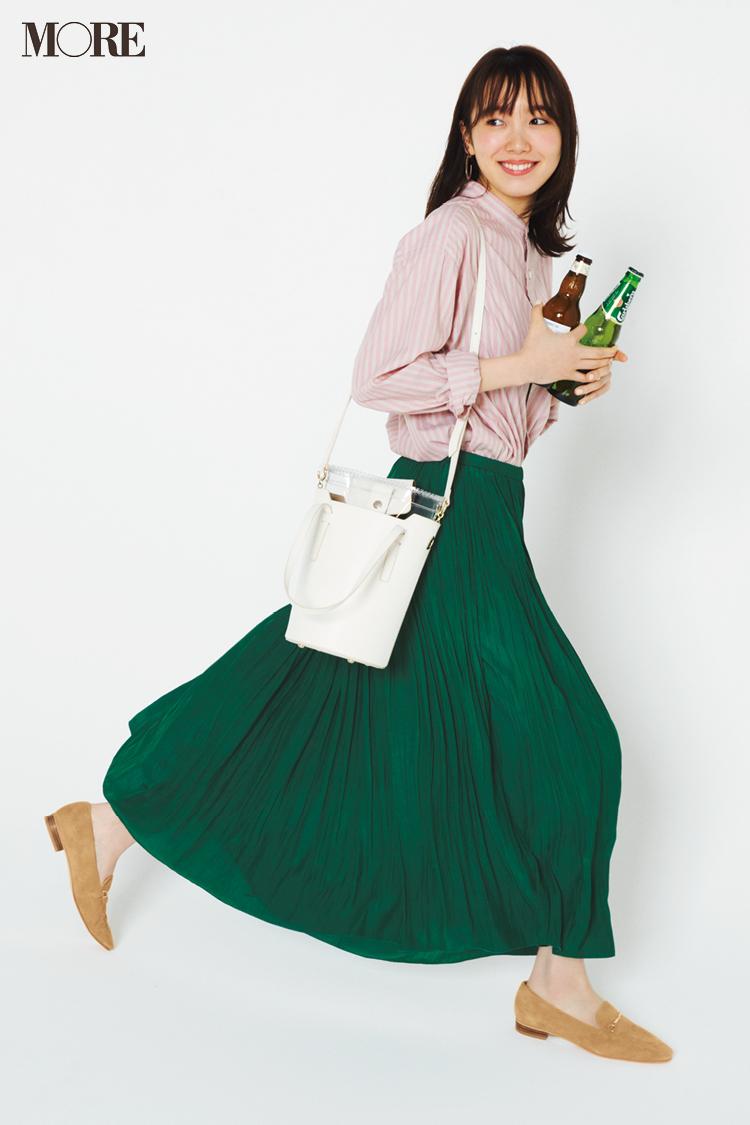 【今日のコーデ】G.W.後半戦。ストライプシャツとグリーンのプリーツスカートでおしゃれはまだまだ加速中♪ <飯豊まりえ>_1
