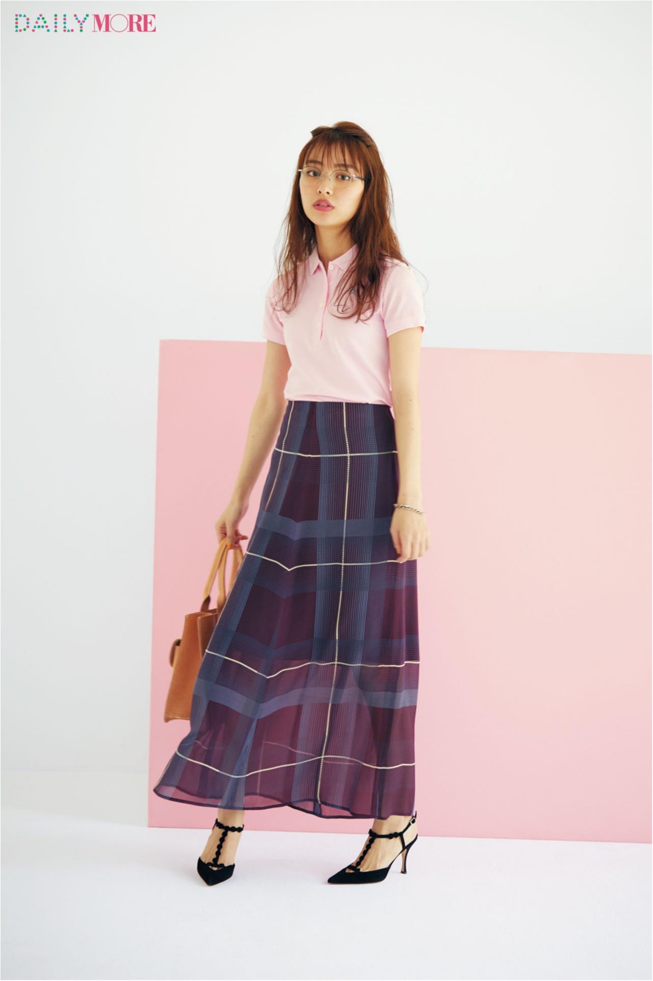 【今日のコーデ/内田理央】この夏着たいピンクのポロシャツ。×マキシスカートでモテを意識して!_1