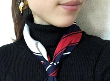 誰でも簡単【固結び】久しぶりにスカーフを巻きました♡
