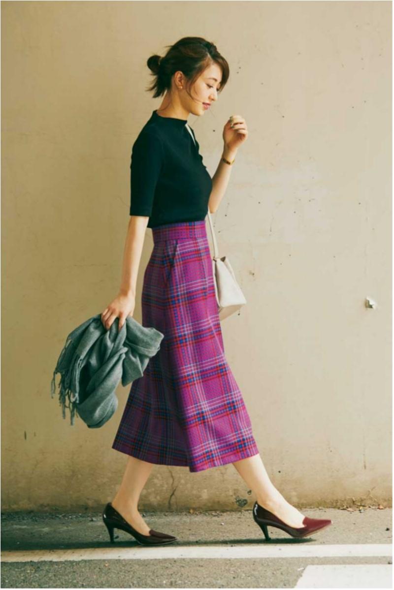 【今日のコーデ】ピンク地のチェックスカートにきゅん♡ プレミアムフライデーは気分がアガる色柄で!1