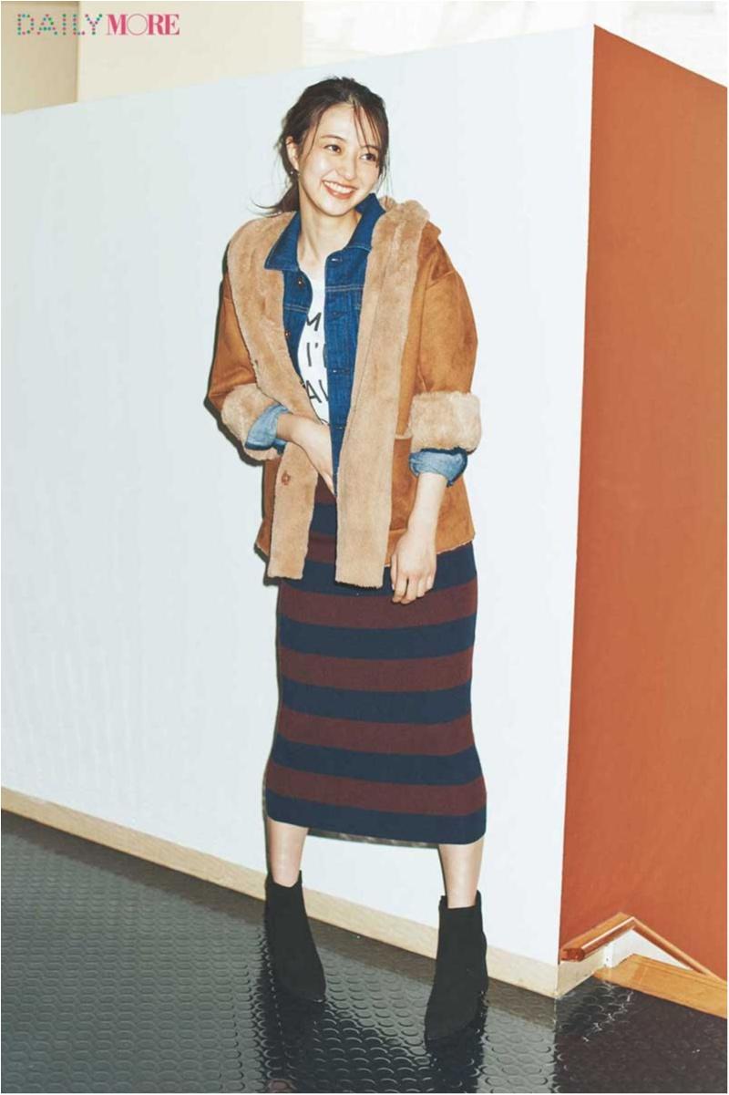 【今日のコーデ/逢沢りな】ムートンアウター×タイトスカートの女っぽカジュアル。このバランスが断然今どき!_1