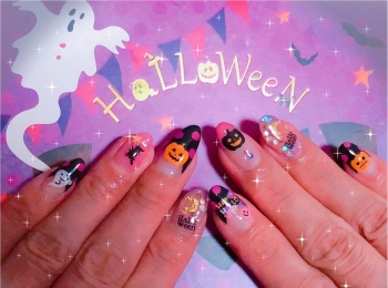 Halloween★NAIL〜10月ですね。季節感たっぷりのネイルにしました(o^冖^o)