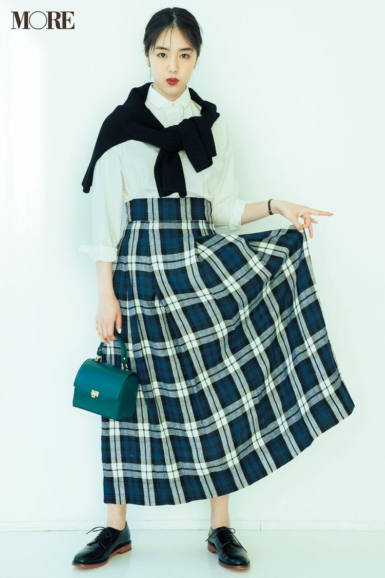 【今日のコーデ】五月に似合う白シャツとチェック柄スカートでとことんグッドガール風に☆ <唐田えりか>_1