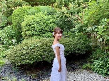 日本庭園でのウエディングフォト♡かわいすぎるウエディングドレスで、前撮りしました♡