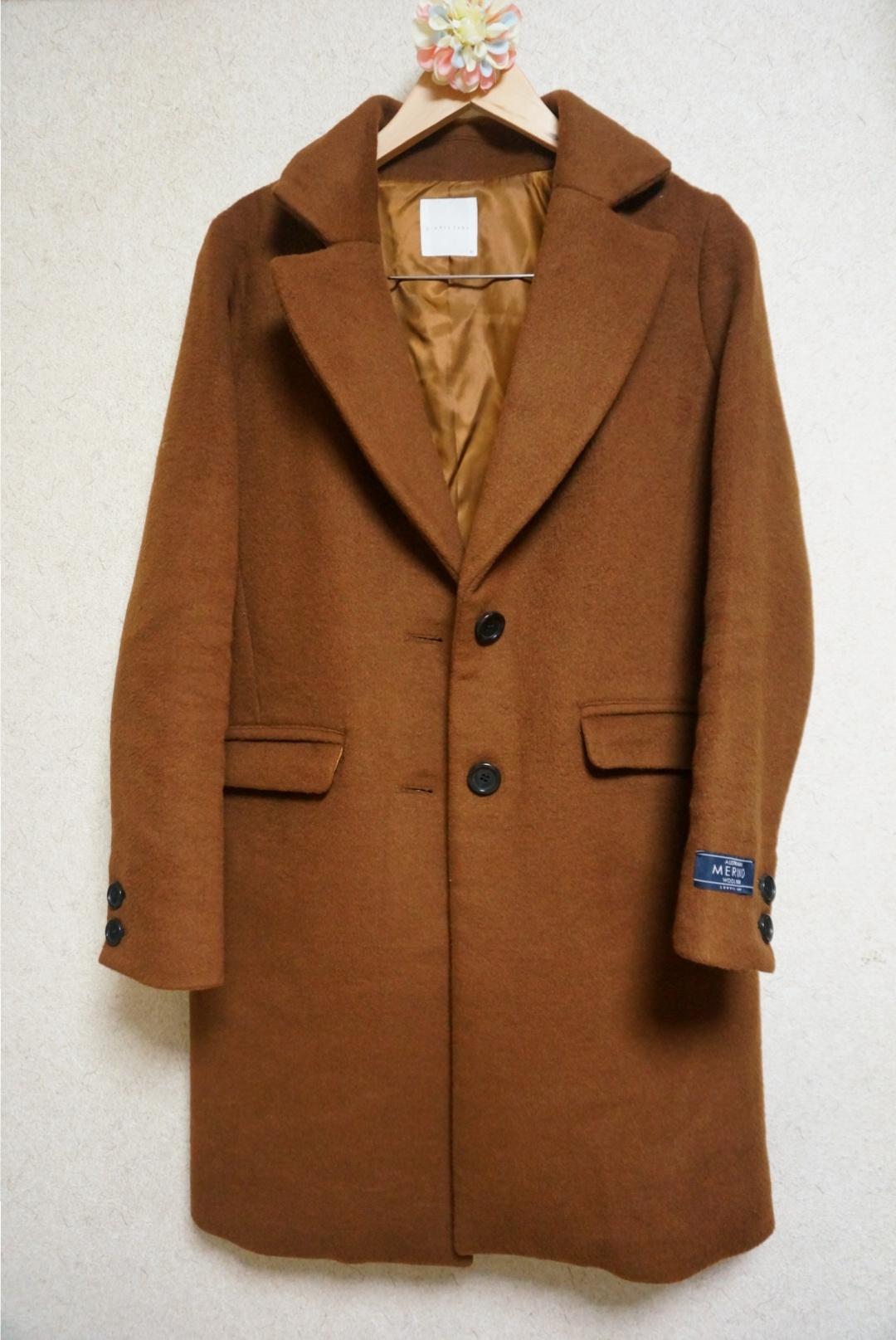 《1つは持っていたい!定番チェスターコート✨》メリノウール使用で暖かい‼スタイリッシュに着れるチェスターコートを最終SALEで半額でGET♪_1