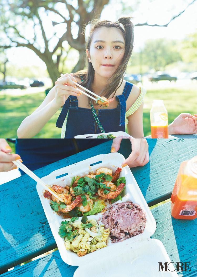 内田理央がハワイで食べたかったもの♪ ピクニック気分で味わうケイジャンシュリンプ&絶品なエスニック♡_1