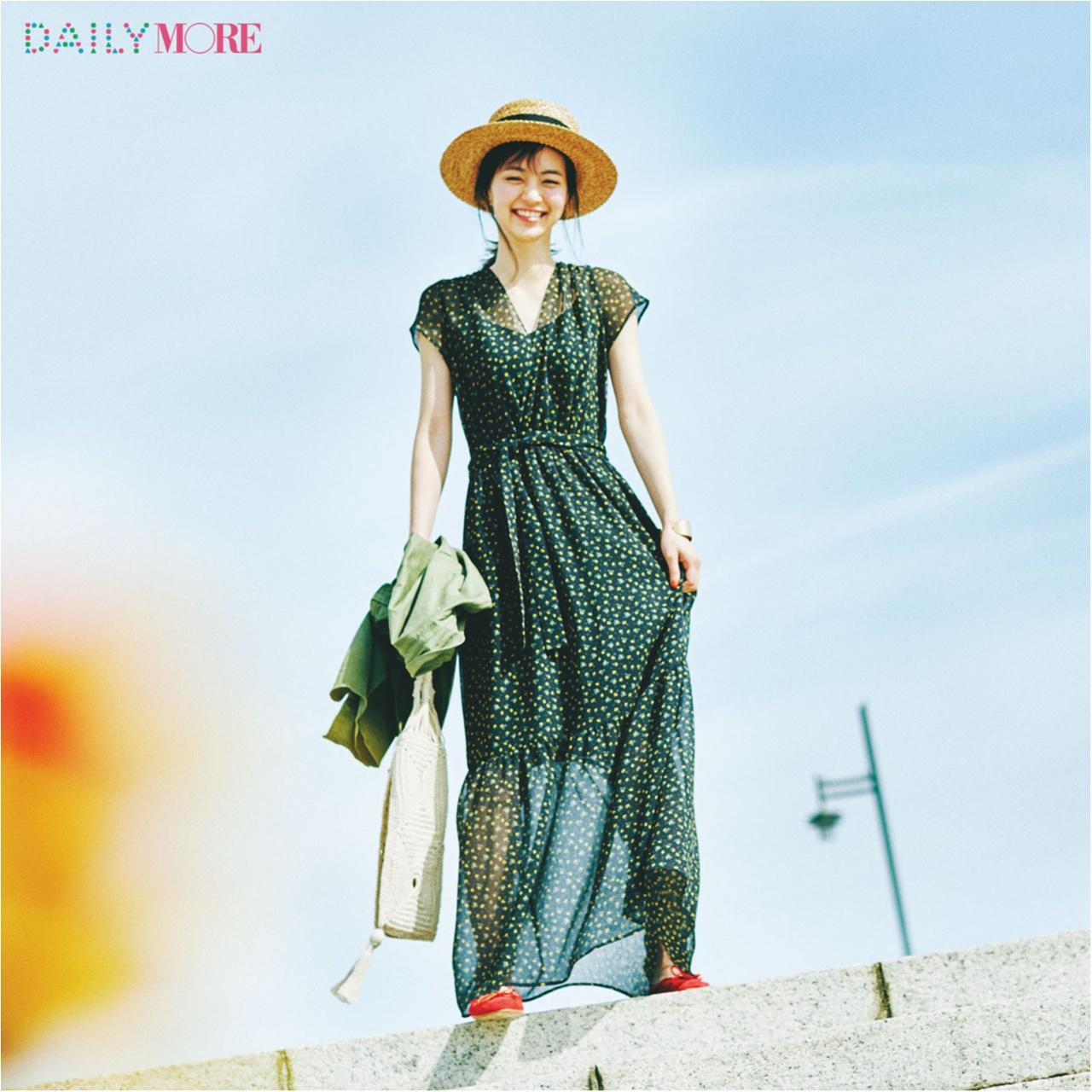 【今日のコーデ/逢沢りな】夏らしさも可愛さもゲットできる、花柄のサマードレスを一枚で♪_1