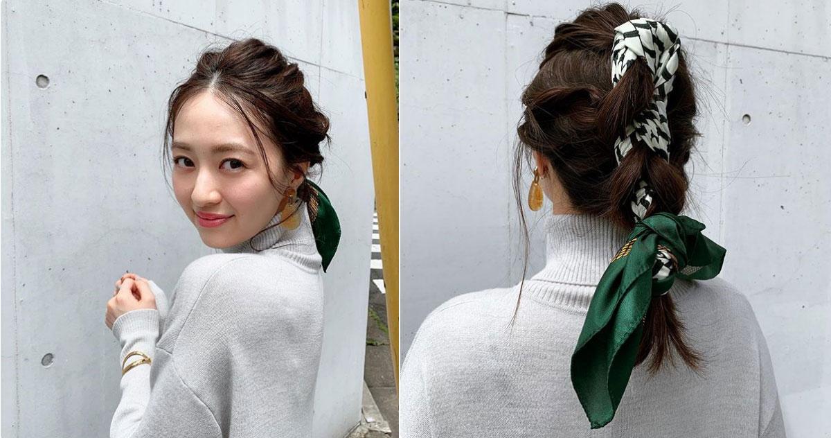 【逢沢りなの撮影オフショット】去年から人気上昇中のスカーフ。りなてぃみたいにヘアに巻くのもおすすめ♡