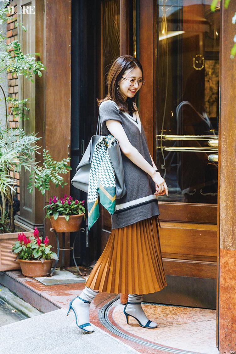 【今日のコーデ】<逢沢りな>秋晴れの木曜はプリーツスカート+ニットベストの最旬ルックで気分を上げて☆_1