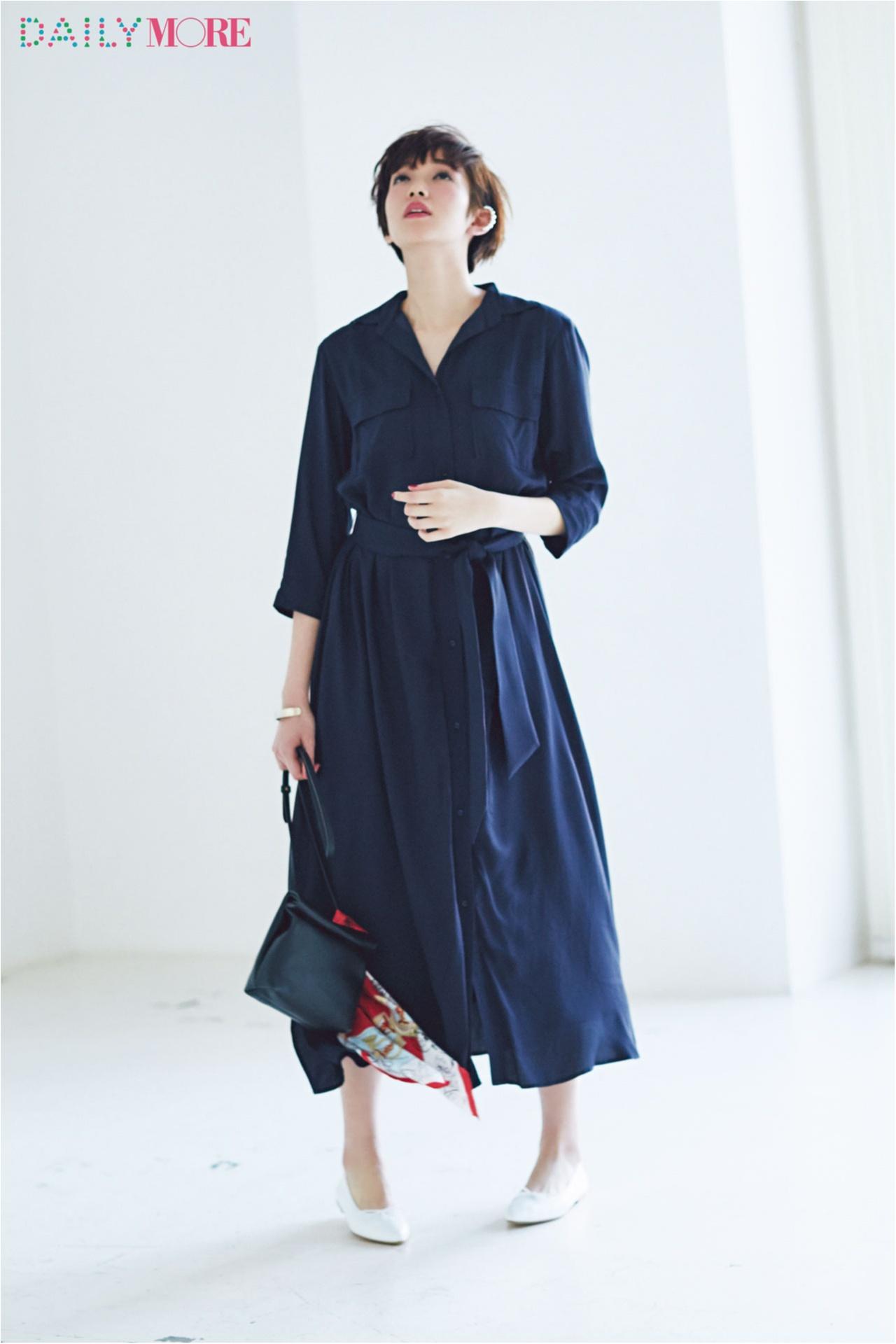 【今日のコーデ/佐藤栞里】朝から忙しい月曜日は一枚で素敵になれるシャツドレスの出番!_1