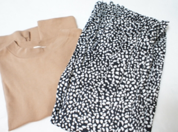 《170㎝トールガールの通勤コーデ》【PLST】大人のブラックレオパード柄スカートが可愛い❤️