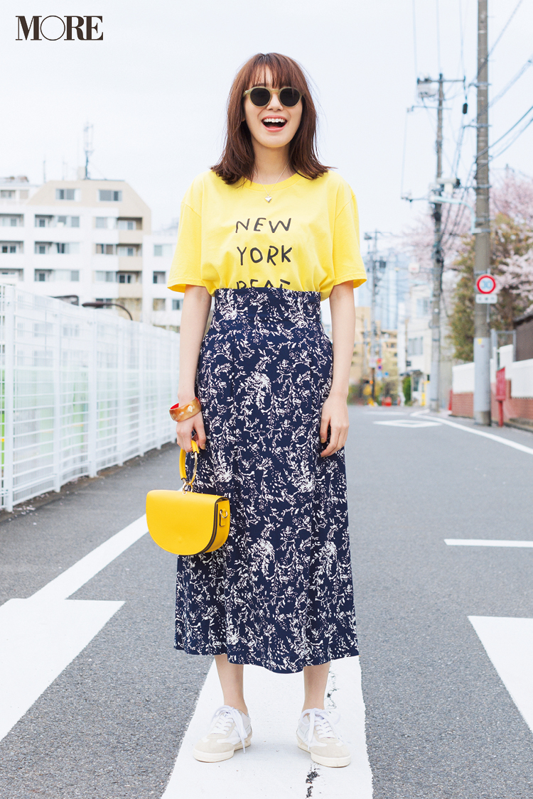 """【今日のコーデ】6月1日は写真の日なんだって。イエローT×花柄スカートの""""映えコーデ""""で、はいチーズ☆ <飯豊まりえ>_1"""
