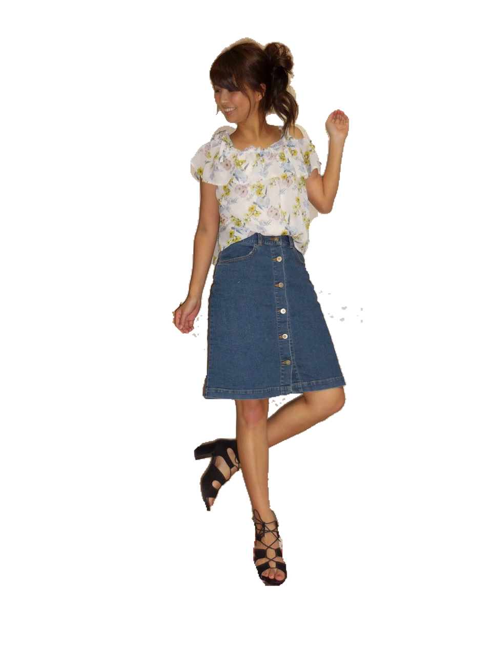 MORE8月号掲載‼️着回し力抜群✨Flower Daysのフロントボタンデニムスカート♡_6