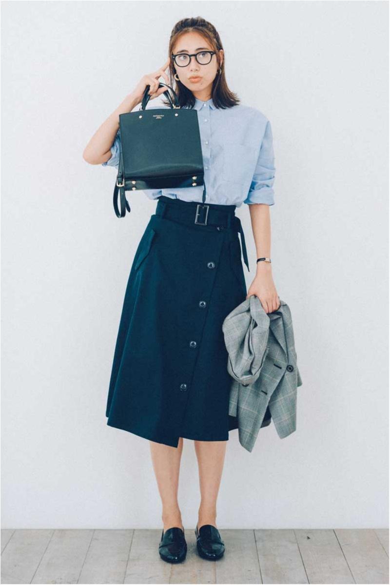 トレンチコート風デザインのスカート