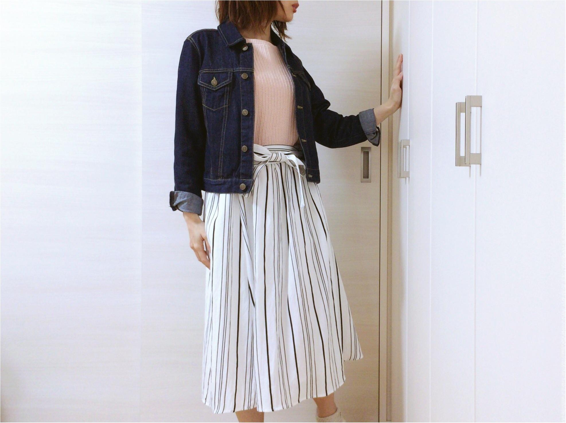 佐藤ありさコラボ服『FlowerDays』流行《ストライプ》リネン風スカートは着回しも着心地も楽チン!_7