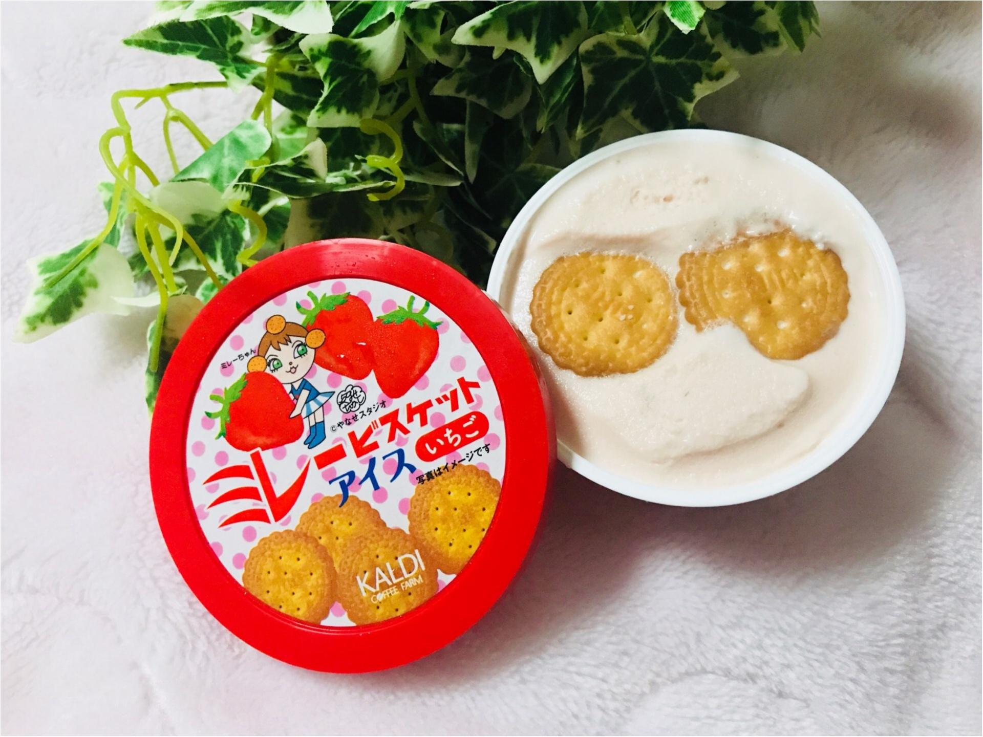 """【KALDI】あのご当地菓子《ミレービスケット》がアイスになっちゃった!カルディ限定で""""いちご味""""が新登場❤︎パッケージがレトロ可愛い♡♡_2"""