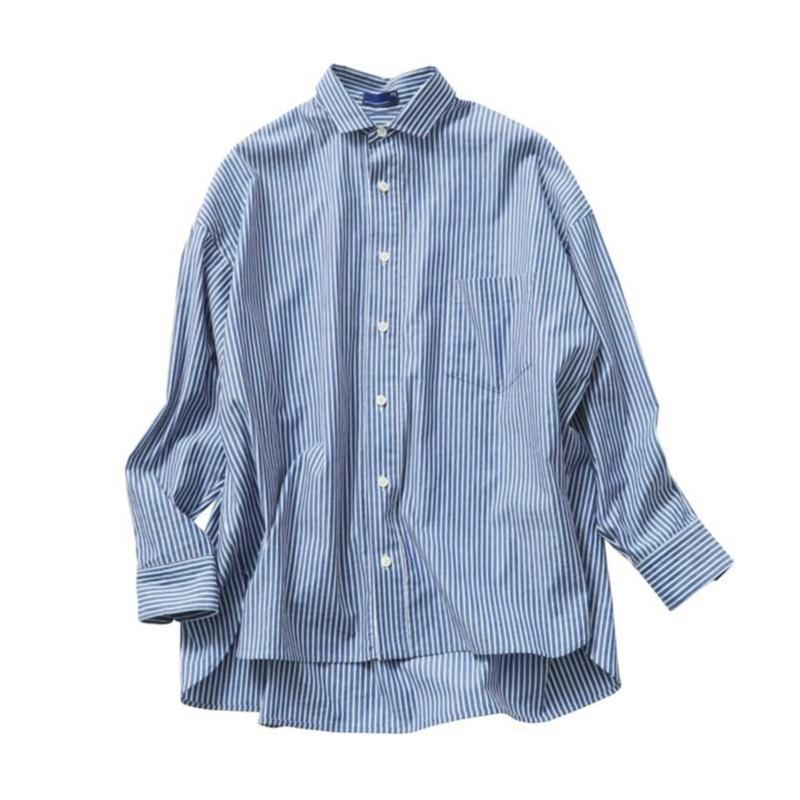 着まわし,着回し,シャツ,前開き,ストライプ,オフィスカジュアル,ファッション,20代
