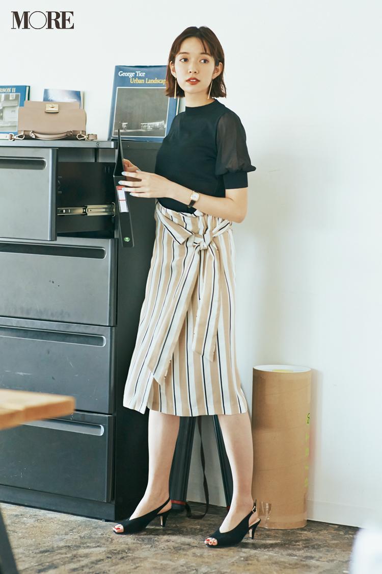 【今日のコーデ】おしゃれのネタ切れ?なら、はくだけで好感度UPなストライプスカートに頼っちゃえ! 〈佐藤栞里〉_1