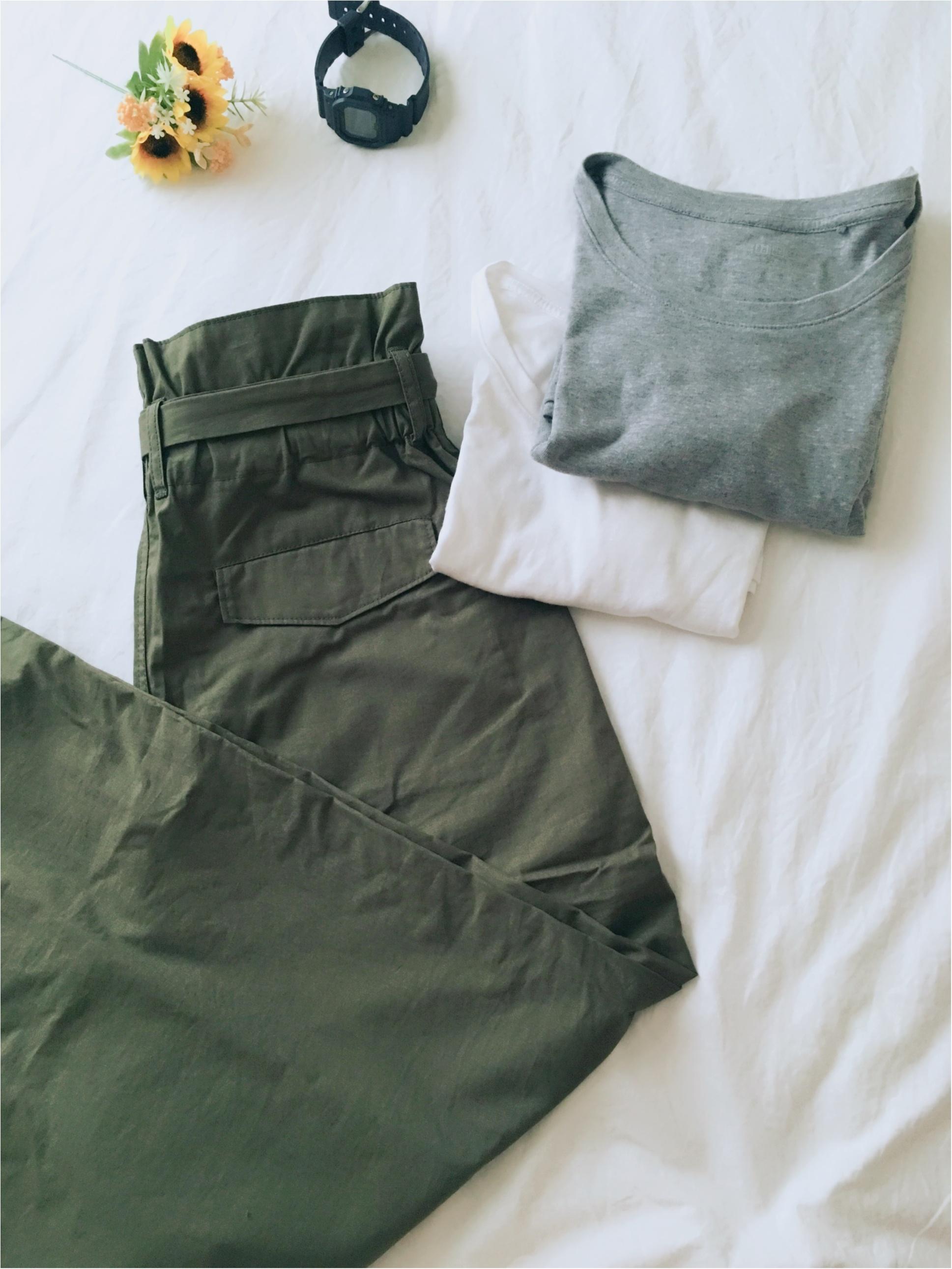 【UNIQLO】クルーネックTシャツと【カーキ】パンツで夏らしく♡_1
