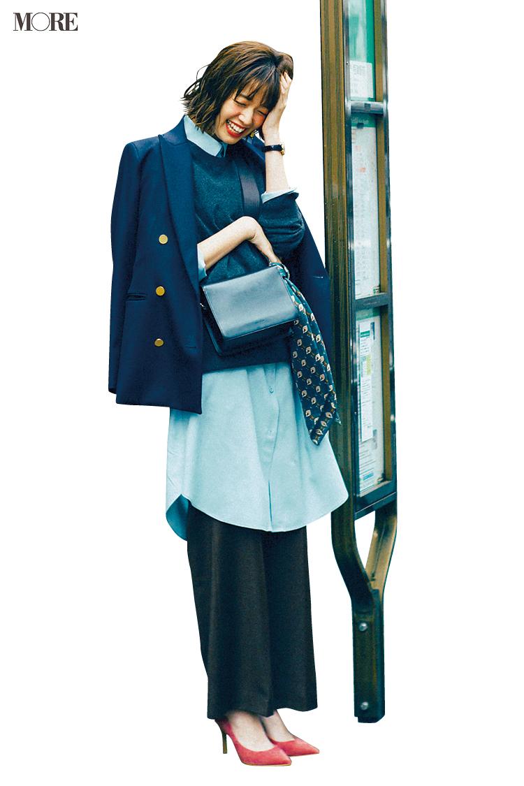 【今日のコーデ】<佐藤栞里>水色のお財布に新調した日はコーデもサックスブルーのシャツを取り入れて颯爽と!_1