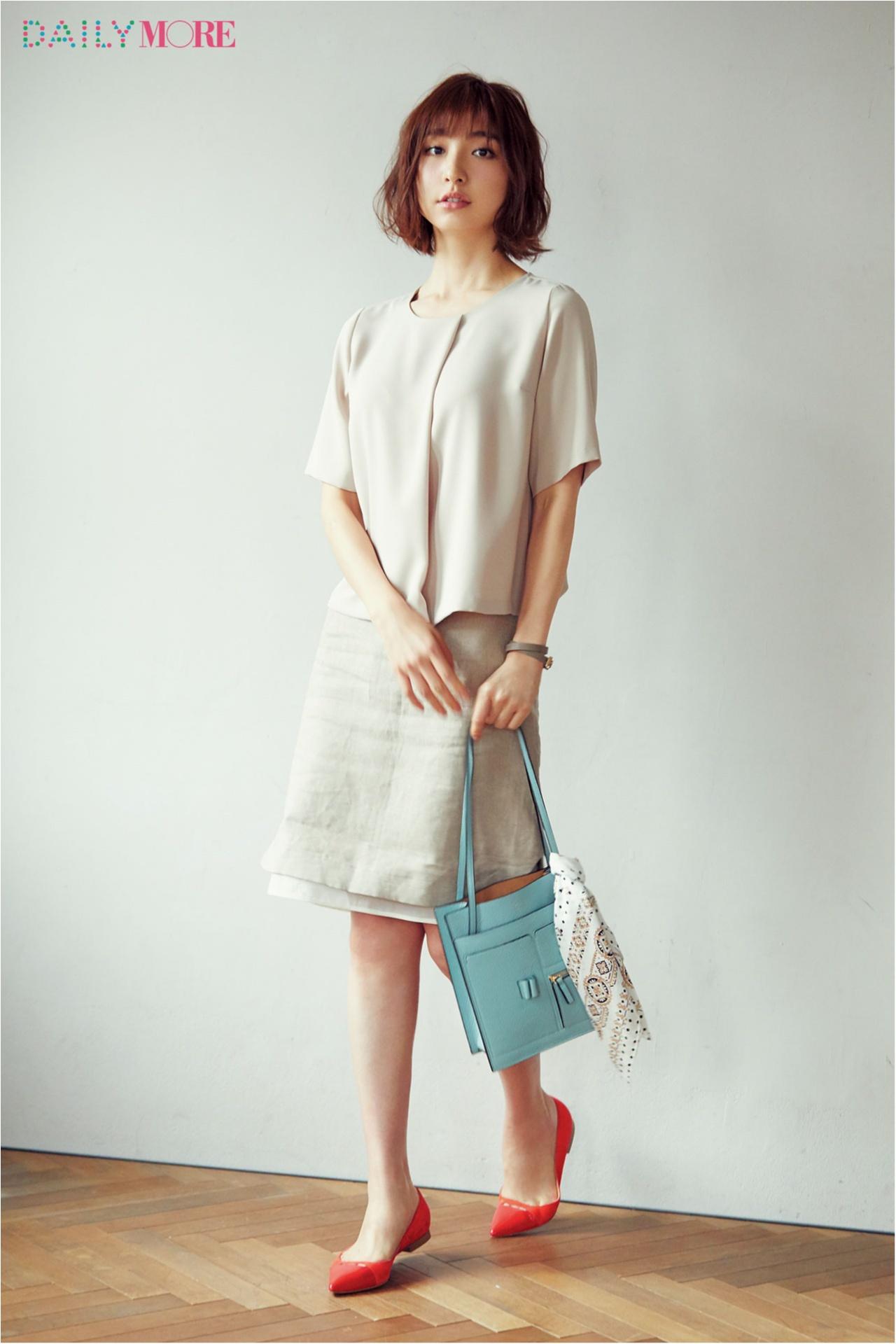 【今日のコーデ/篠田麻里子】きちんと重視のワントーンコーデは、素材感や色で品のよさを高めて。_1