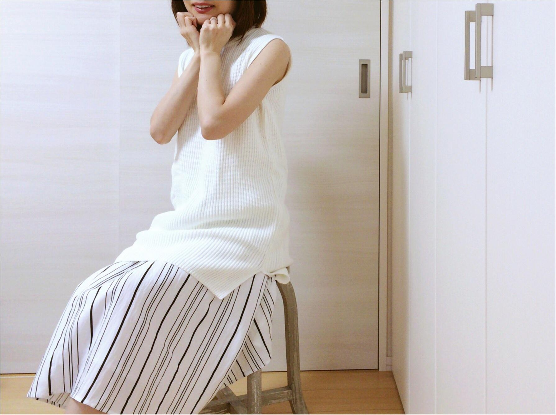 佐藤ありさコラボ服『FlowerDays』流行《ストライプ》リネン風スカートは着回しも着心地も楽チン!_8