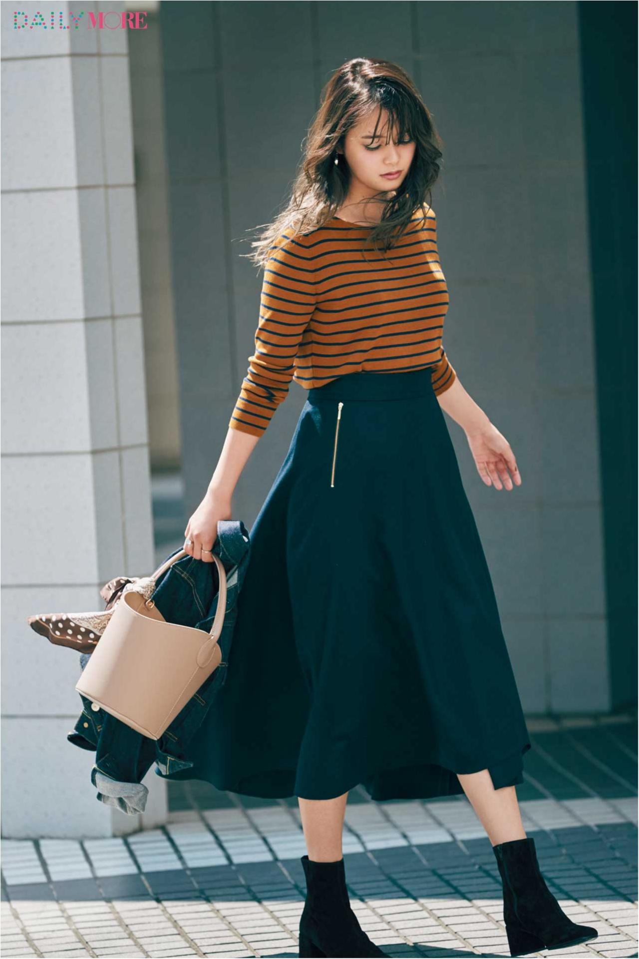 【今日のコーデ/岸本セシル】秋はボーダーを女らしく着てみる。スタイルよく見えるスカートと一緒に♪_1