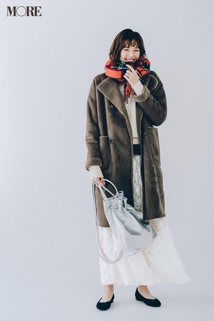 【今日のコーデ】仕事納めの日の服は真っ白コーデ×ムートン風コートで暖か&柔らかな印象に <佐藤栞里>_1
