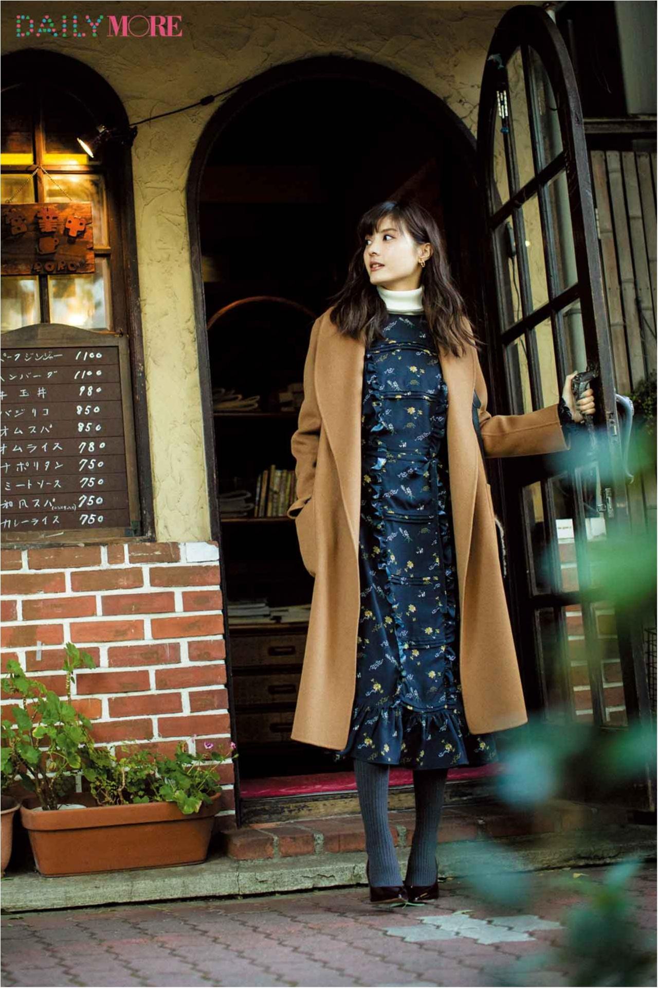 【今日のコーデ/佐藤ありさ】フェミニンワンピが着たい月曜日は新しいコートで大人にシフト。_1