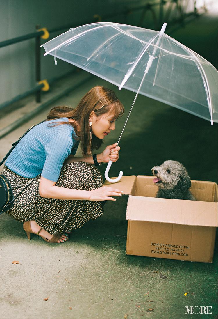 「通勤途中、雨に濡れた子犬が……」。内田理央主演・毎日連載『ミスブラウンの愛され着回し』3日目_1
