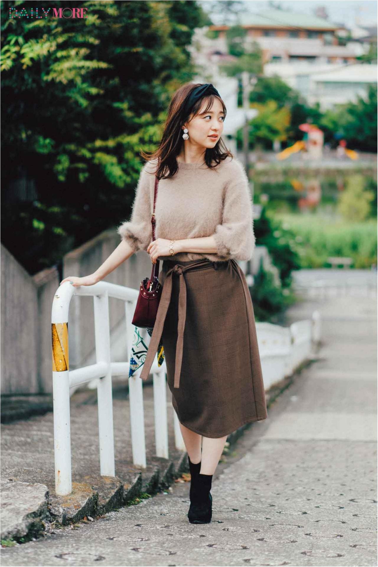 【今日のコーデ/逢沢りな】茶系ワントーンが素敵。ふわふわニット×タイトスカートの相思相愛コーデ♡_1