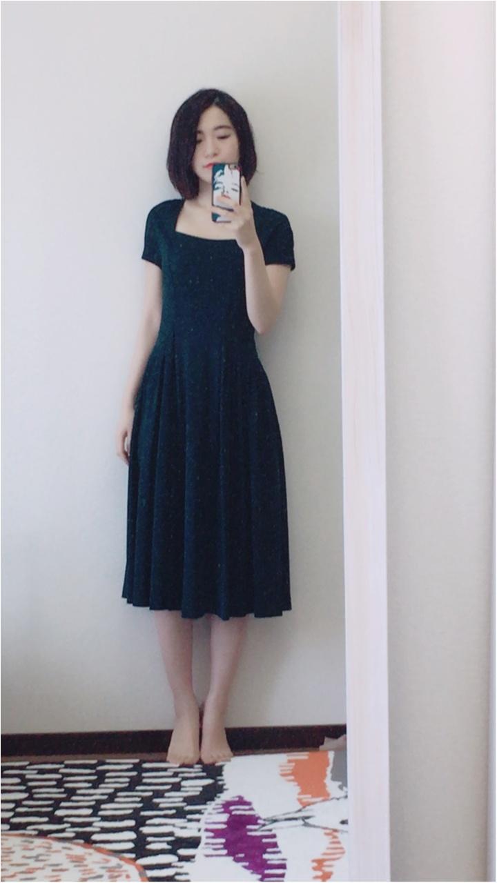 【お呼ばれドレス】ミモレ丈×濃グリーンで落ち着いた雰囲気に!普段も気軽に使えちゃう洗えるドレス!_1