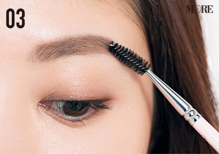 濃くて多い眉の人におすすめの描き方。明るめカラーの眉マスカラで柔らかな印象へ!_6