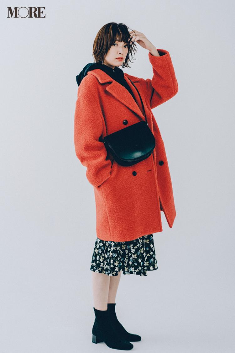 【今日のコーデ】きれい色のチェスターコートとGUのスカートで甘辛カジュアルに圧倒的なおしゃれ感を♪ <佐藤栞里>_1
