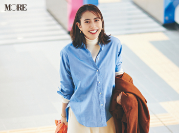 【今日のコーデ】<土屋巴瑞季>懇親会という名の......合コン!?優しげなオフ白スカートに爽やかなシャツで第一印象UP